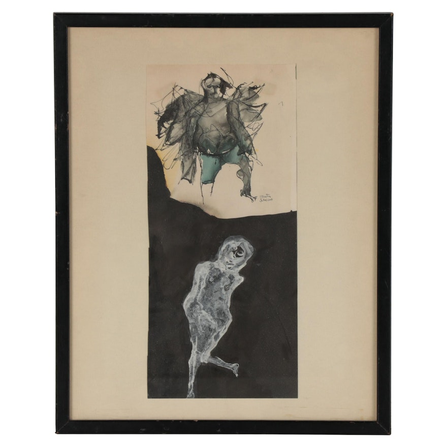 Martin Sumers Mixed Media Painting of Figures, Late 20th Century