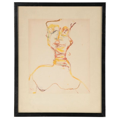 Martin Sumers Abstracted Watercolor Portrait, Mid-20th Century