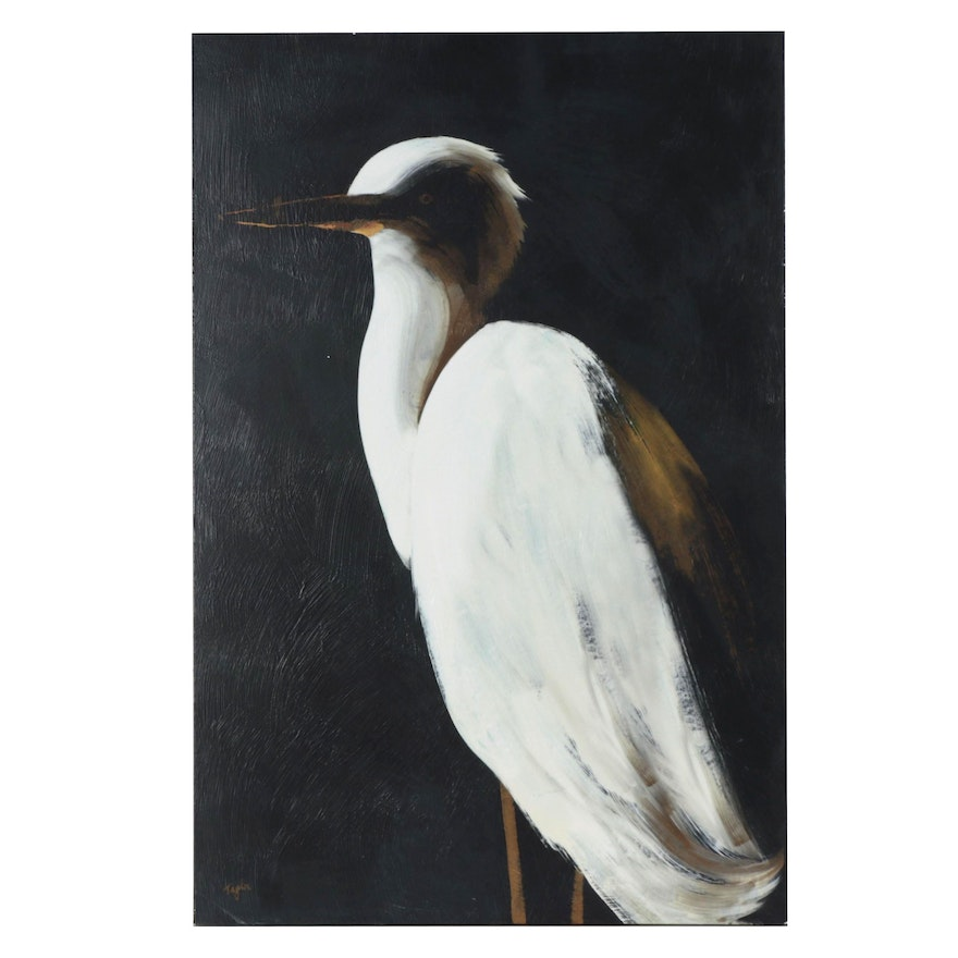 Embellished Giclée of Snowy Egret, Late 20th Century