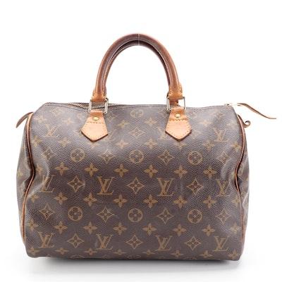 Louis Vuitton Speedy 30 Bag in Monogram Canvas and Vachetta Leather