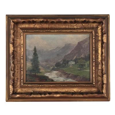 Rudolf Tschudi Landscape Oil Painting, Early 20th Century