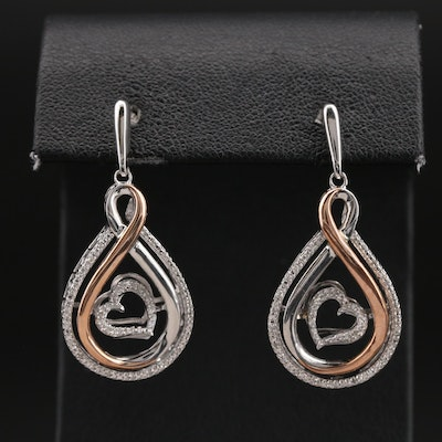 Sterling Diamond Earrings with 10K Rose Gold Accents