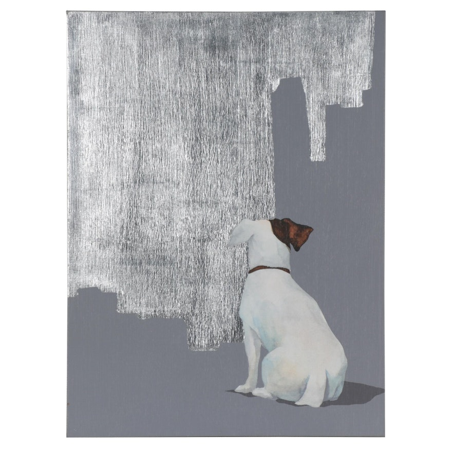 Embellished Giclée of Jack Russel Terrier, Late 20th Century