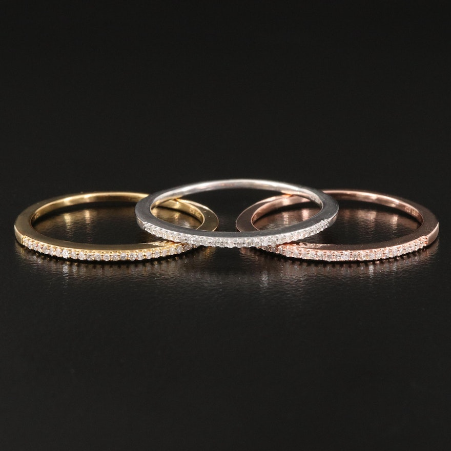 Sterling Diamond Stackable Rings