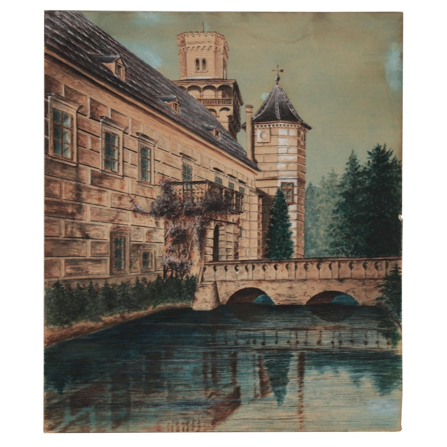 Ink and Watercolor Painting of Castle With Moat, Mid-20th Century