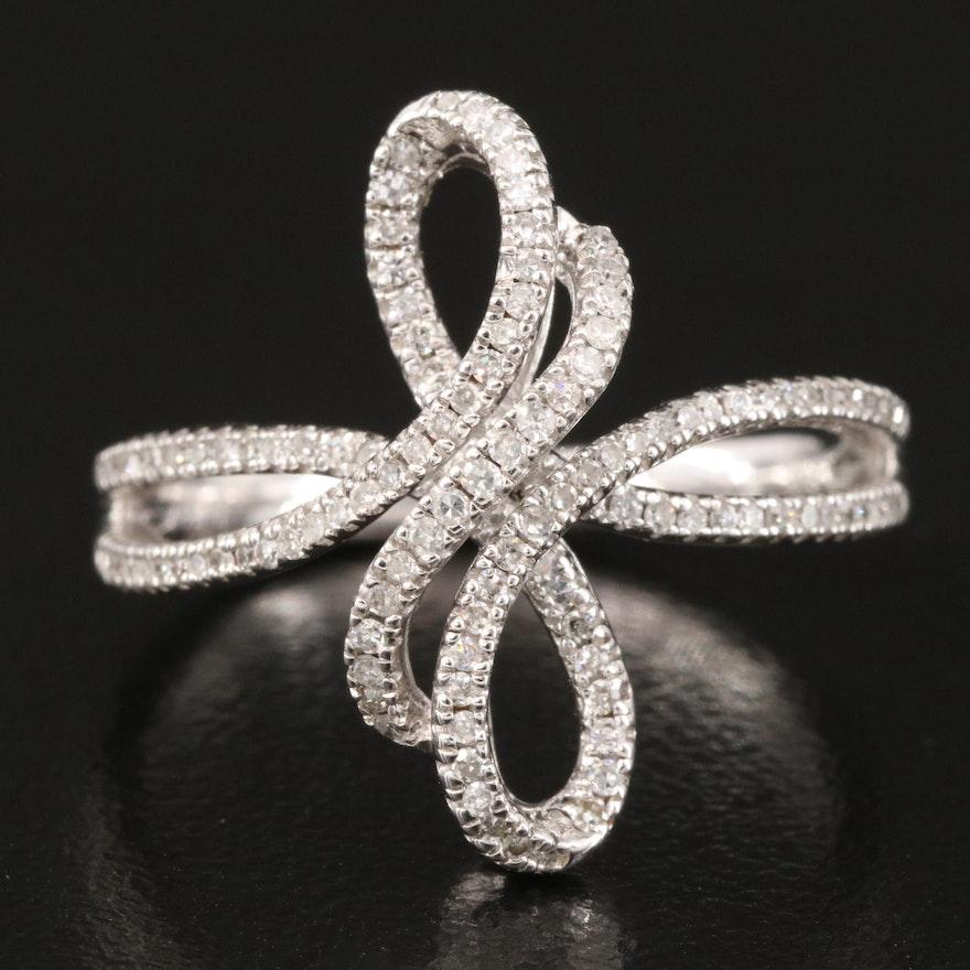 Sterling Diamond Openwork Twist Ring