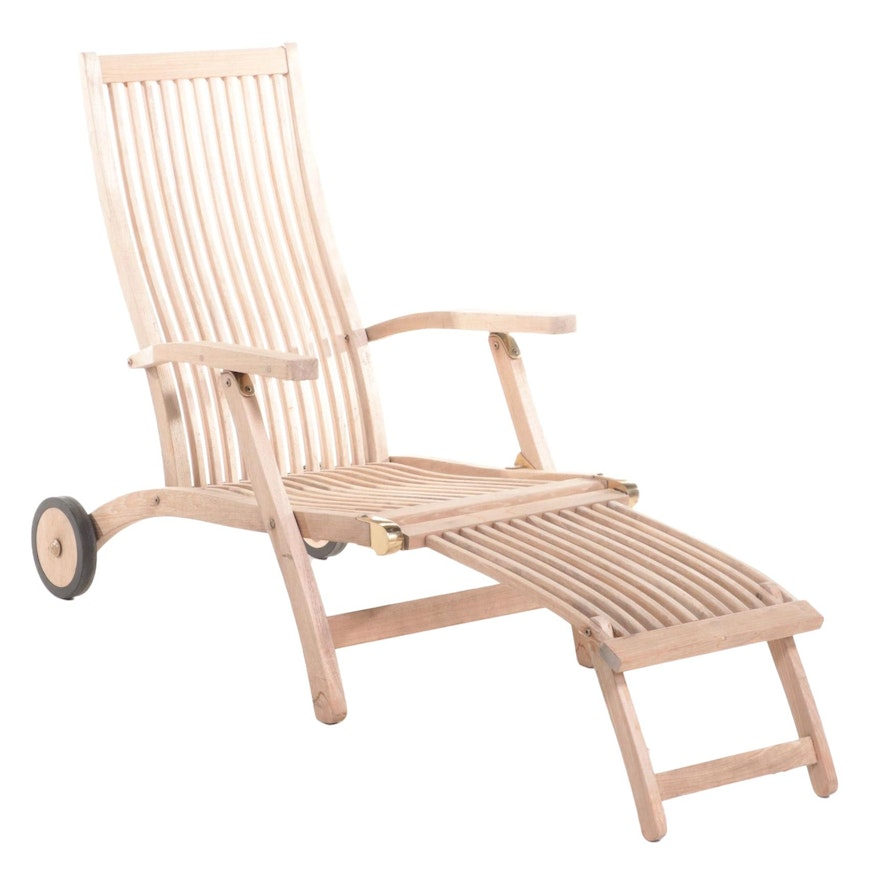Stylist Line Teak Wood Folding Chaise Lounge Chair with Brass Fittings