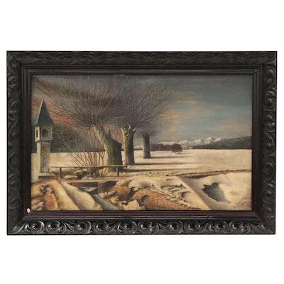F. Navarra Landscape Oil Painting of Winter Scene, 1922