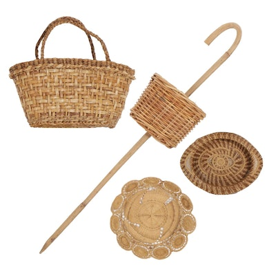 Walking Stick Forager's Basket with Berry Picking and Other Wicker Baskets