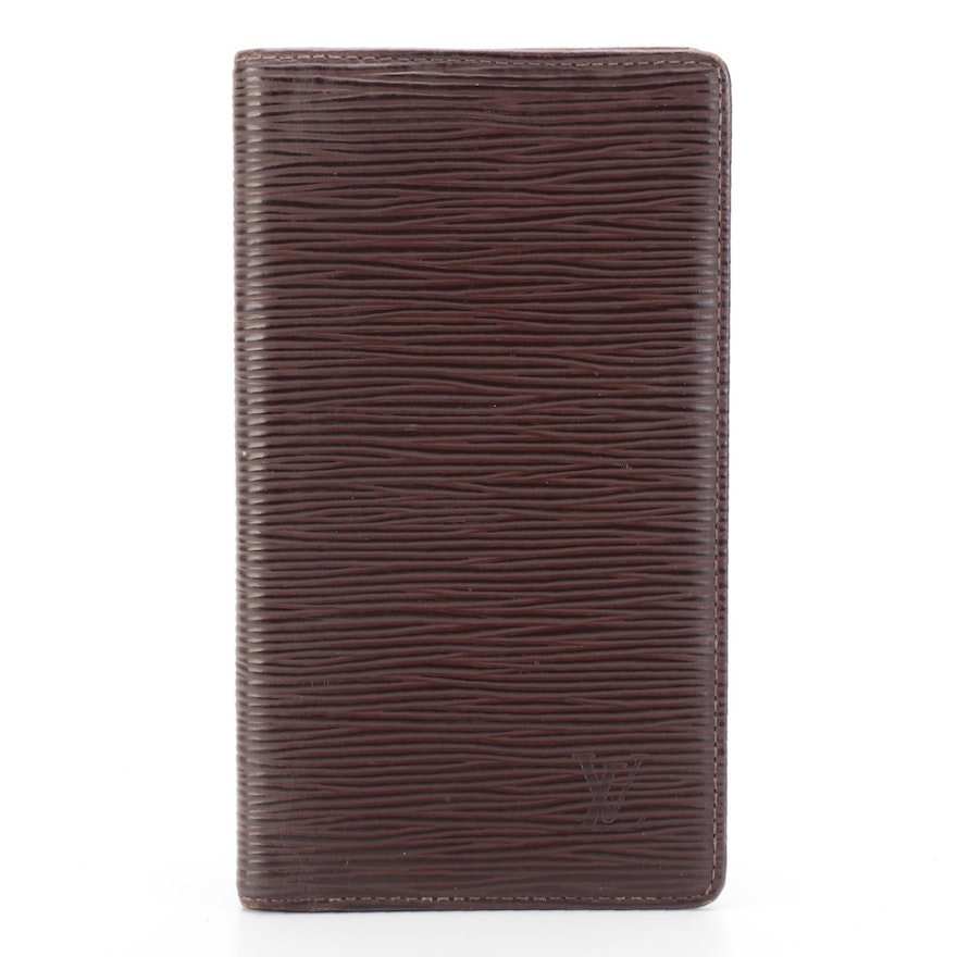 Louis Vuitton Checkbook Cover and Card Case in Moka Epi Leather