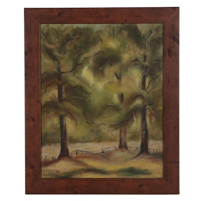 Mildred Streeter Naive Oil Painting, Mid-20th Century