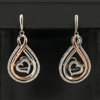 Sterling Diamond Earrings with En Tremblant Heart and 10K Rose Gold Accents