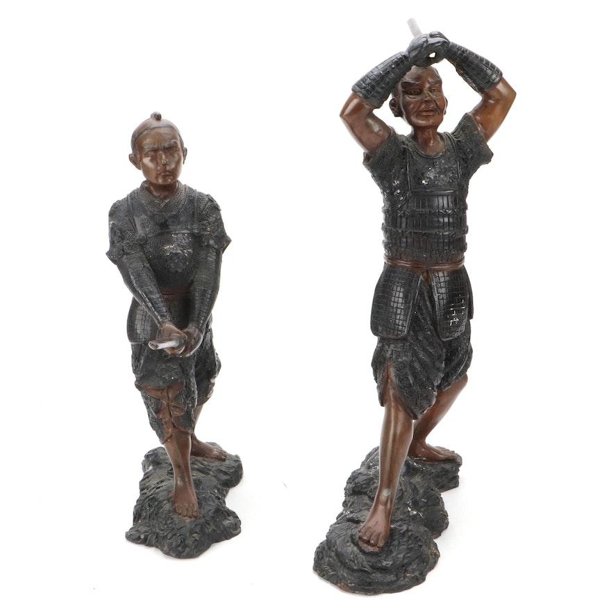 Japanese Cast Bronze Figures of Samurai Warriors, 20th Century