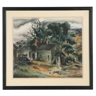 Lee Brown Coye Farmhouse Landscape Watercolor Painting, 1942