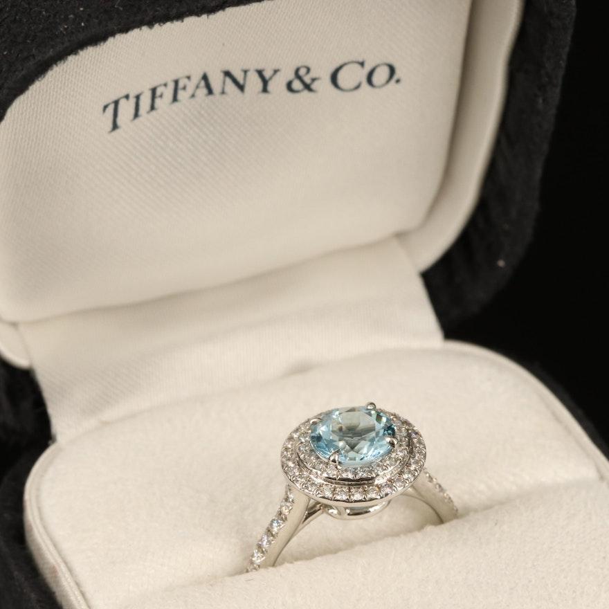 Tiffany & Co. Platinum Aquamarine and Diamond Ring with Box
