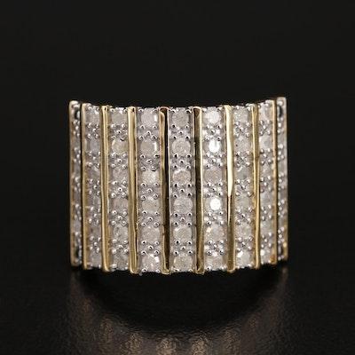 Sterling 1.00 CTW Diamond Multi-Row Ring