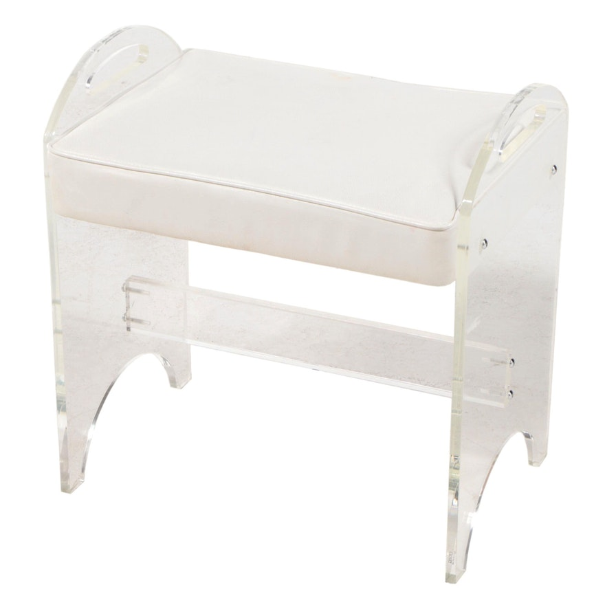 Rialto Modernist Lucite and White Vinyl Stool, Mid to Late 20th Century