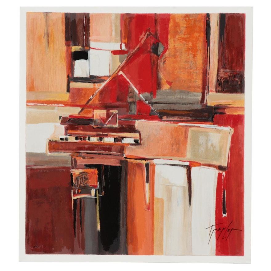 """Yuri Tremler Serigraph """"Piano in Red,"""" Circa 2000"""