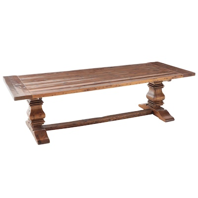 Contemporary Rustic Style Pine Trestle Dining Table