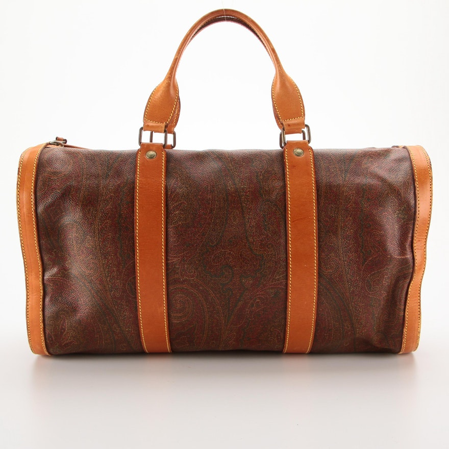 ETRO Barrel Bag in Paisley Coated Canvas with Leather Trim