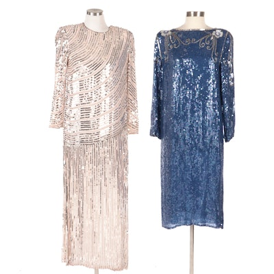 Ray & Ida and Other Bead and Sequined Embellished Silk Evening Dresses