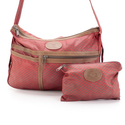 Gucci Accessory Collection Shoulder Bag with Pouch in Logo Print Striped Canvas