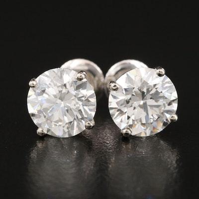14K 4.18 CTW Diamond Stud Earrings with IGI Diamond Reports