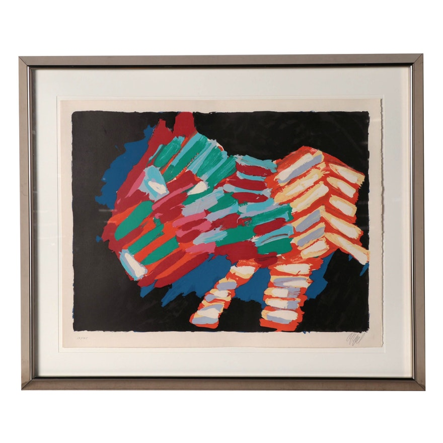 """Karel Appel Color Lithograph """"Cat in the Night"""" from """"Cats"""" Suite, 1978"""