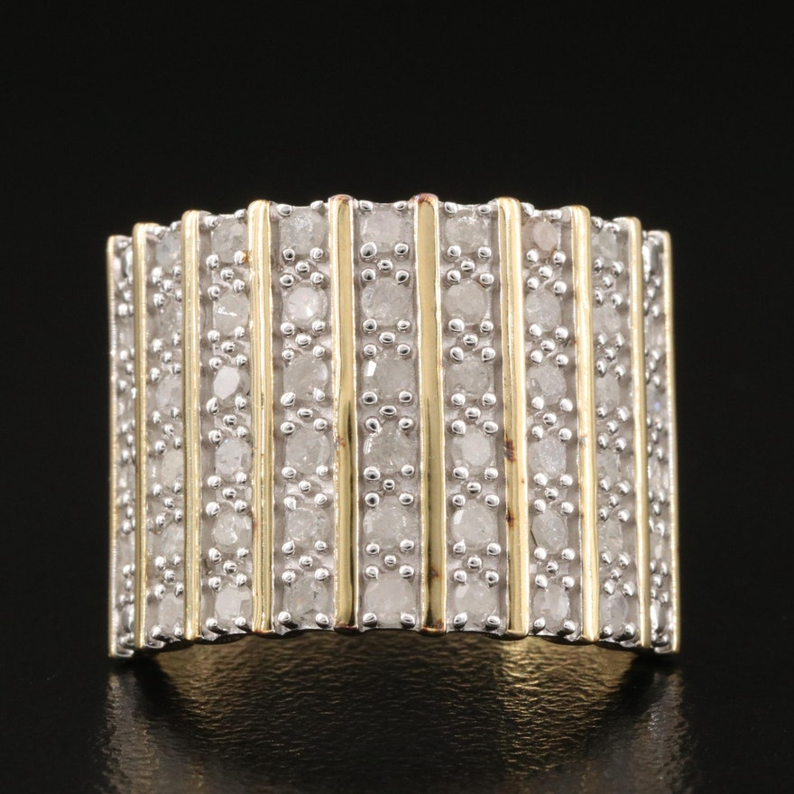 Sterling Silver 1.02 CTW Diamond Multi-Row Ring