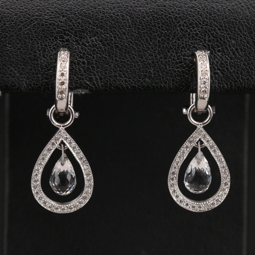 Jude Frances 18K Diamond Stud Earrings with Topaz Articulated Drops