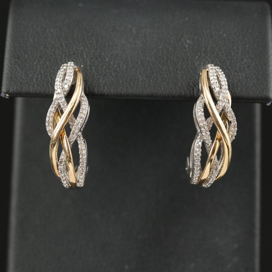 Sterling Diamond Openwork J Hoop Earrings with 10K Accents