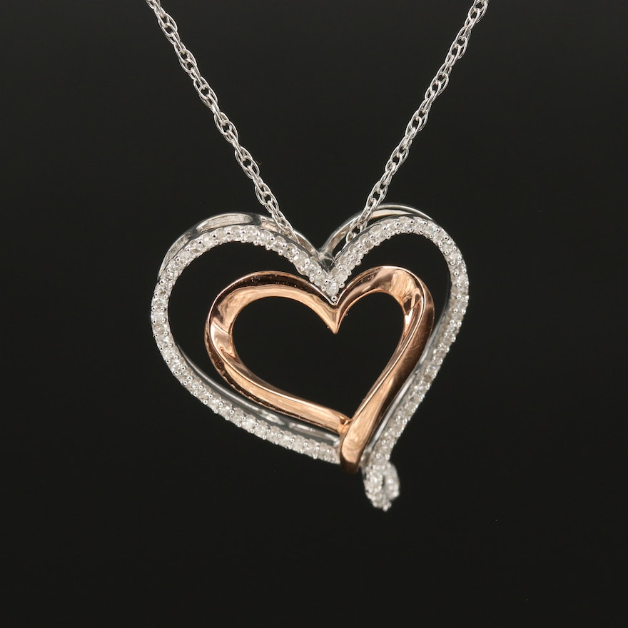 Sterling Diamond Double Heart Necklace with 10K Accent