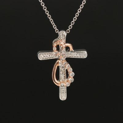 Sterling Silver 10K Diamond Heart Cross Necklace