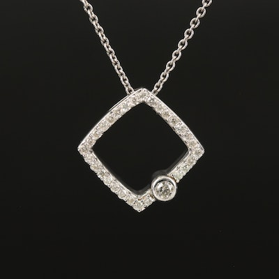 Sterling Silver Diamond Open Cube Necklace