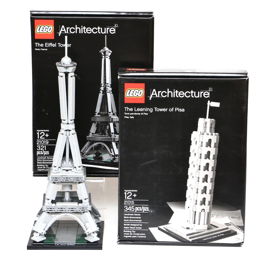"""LEGO Architecture """"The Eiffel Tower"""" and """"The Leaning Tower of Pisa"""""""
