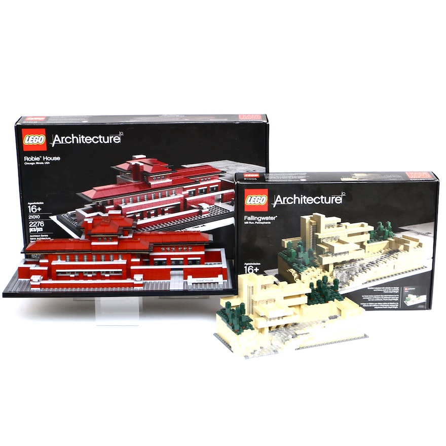 """LEGO Architecture """"Fallingwater"""" and """"Robie House"""""""