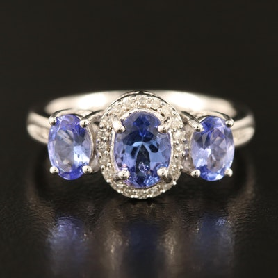 Sterling Silver Tanzanite and Diamond Three Stone Ring