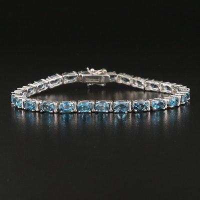 Sterling Silver London Blue Topaz Line Bracelet