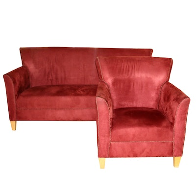 Marquis Seating Flared-Back Ultrasuede Sofa and Armchair