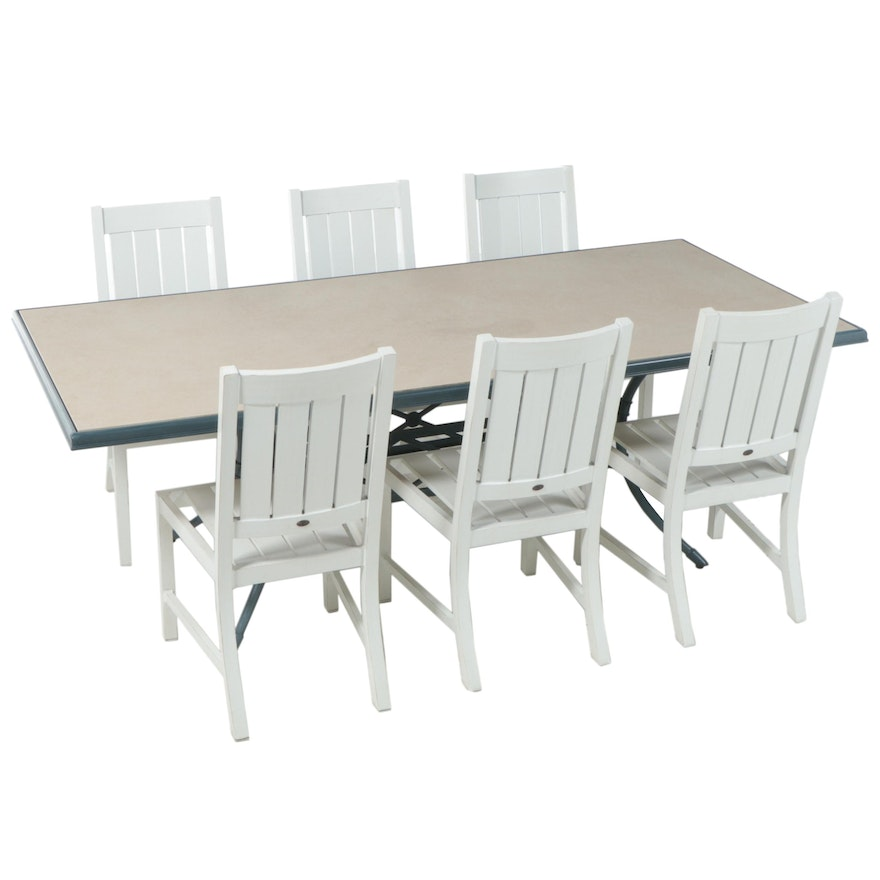 Seven-Piece Patio Dining Set with Summer Classics Aluminum Chairs