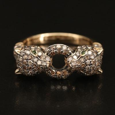 14K 1.30 CTW Diamond Leopard Door Knocker Ring