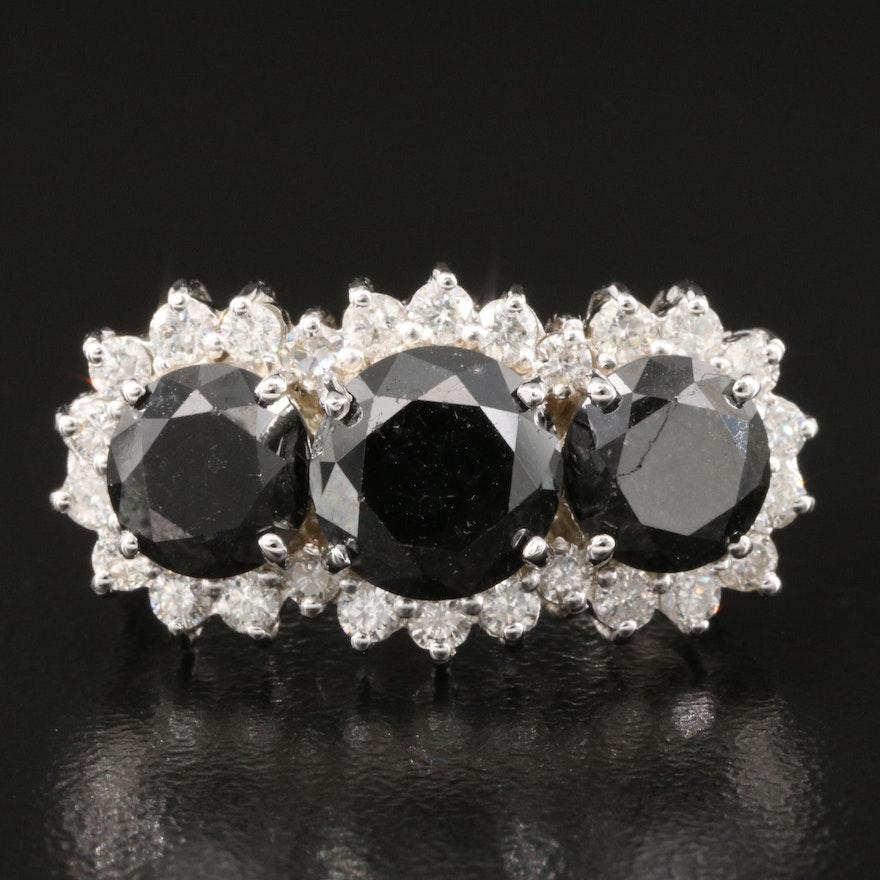 14K Diamond 6.20 CTW Stepped Halo Ring Featuring Black Diamond Center Stones