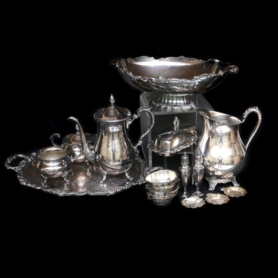 """Lunt """"Modern Victorian"""" Silver Plate Centerpiece Bowl and Other Serveware"""