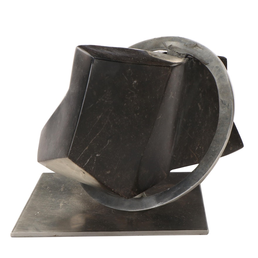 Abstract Stone and Metal Sculpture in the Style of Dan Content, Circa 1970