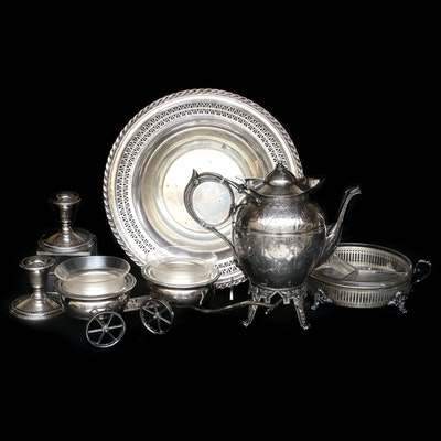 F.B. Rogers Cart Shaped Condiment Caddy and Other Silver Plate Tableware