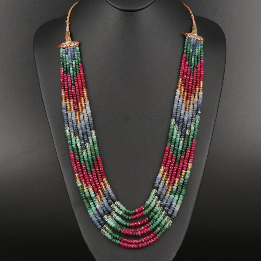 Multi-Strand Gemstone Beaded Necklace Including Ruby, Sapphire and Citrine