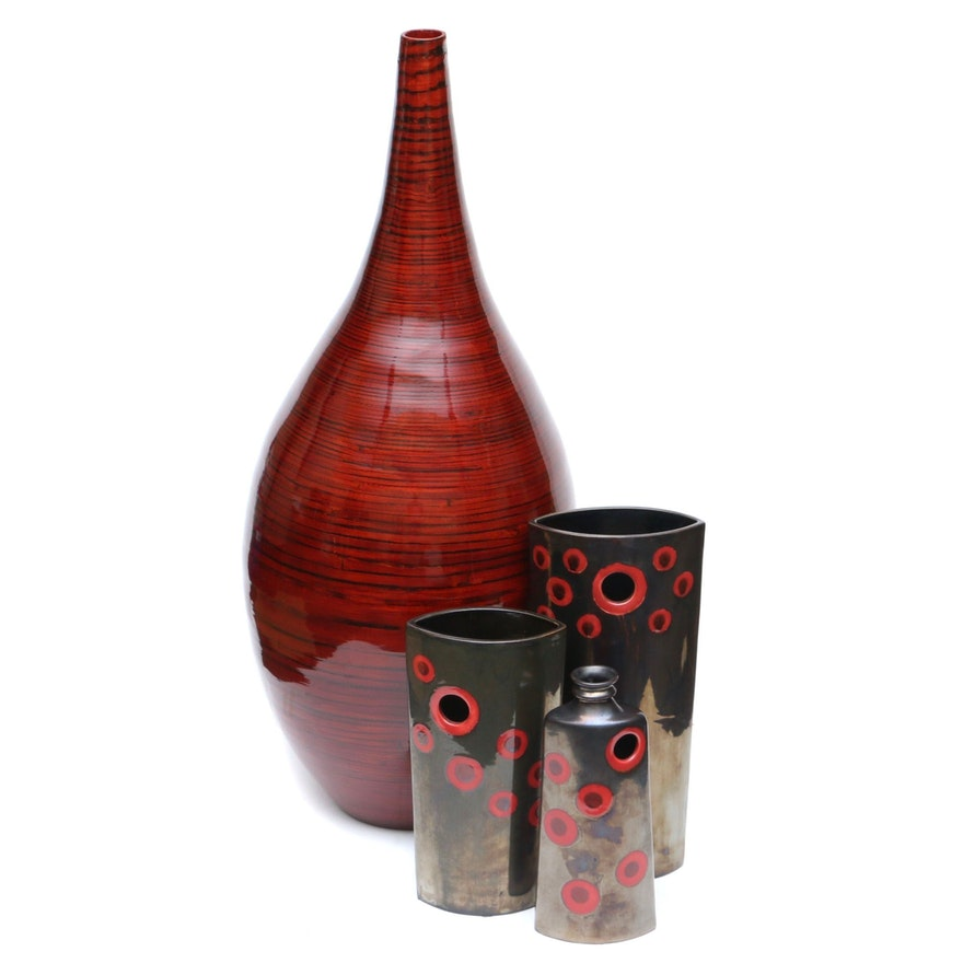 Red Lacquered Bamboo Floor Vase and Contemporary Ceramic Vases