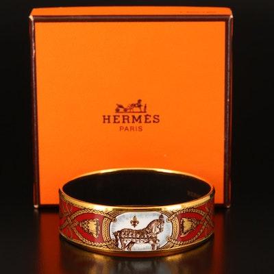"""Hermès """"Grand Apparat"""" Enamel Bangle with Box"""