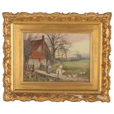 J. MacPherson-Haye Watercolor Painting of Pastoral Scene