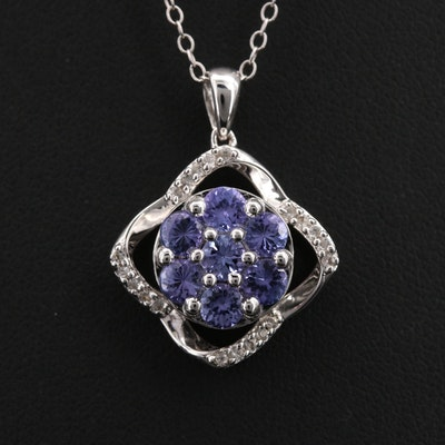 Sterling Tanzanite and Topaz Pendant Necklace